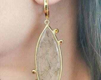 Rutilated Quartz drop earrings , Gold plated.