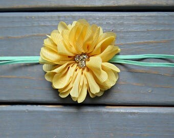 Spring Floral Baby Headband, Yellow Headband, Newborn Headband, Flower Headband, Flower Girl Headband, Wedding Headband, Baby Shower Gift