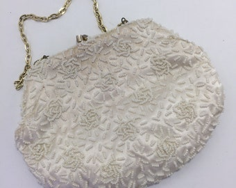 Vintage White Beaded Clutch Made in Hong Kong Walbarg