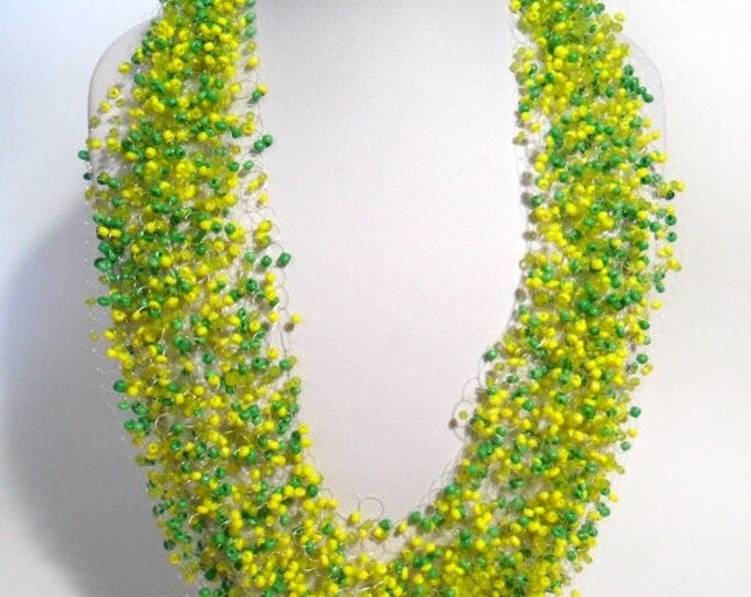 Spring or summer necklace yellow green airy crochet multistrand statement bright gift for her cobweb everyday casual bridesmaid unusual bead