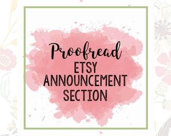 Announcement Section Proofread - Etsy Copy - Etsy Edit Help - Etsy SEO Help - Shop Help - Etsy Improvements - Etsy Critique - Etsy Revision