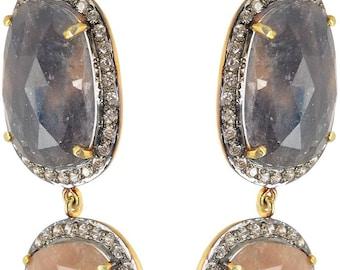 Sapphire Earrings - Solid Gold Sapphire Earrings for Women - Red Stone Earrings - Gift for Her - Bridal Earrings - Boho Chic Earring Jewelry