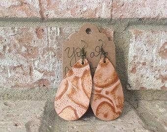 Handmade Beige Printed Embossed Leather Teardrop Earrings 2 inch Dangle Earrings