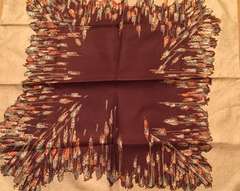 Beige Brown Scarf -  Patricia Dumont Scarf - Square Scarf