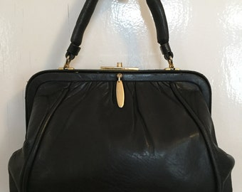 Black Leather Purse - Leather Handbag - Leather Bag - Leather Top Handle Bag