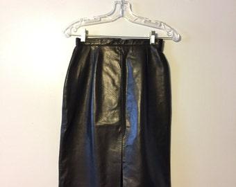 Black Leather Skirt - Genuine Leather Skirt - Pencil Skirt - Danier Leather