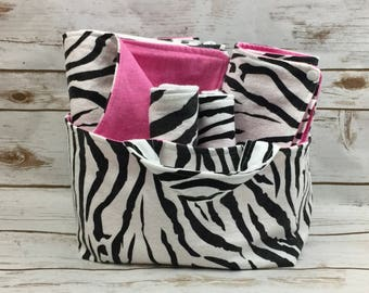 Zebra Baby Girl Baby Shower Gift Basket - Baby Girl Gift Set - Fabric Basket - Changing Pad - Baby Blanket - Burp Cloth Set