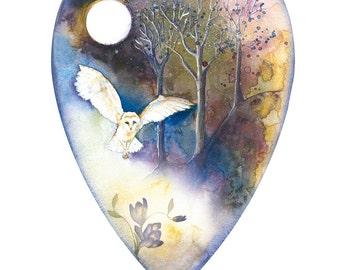 Owl Art Print Owl Ilustration, Owl, Owl Print Owl Wall Art Watercolour Owl Print Digital Owl Print Owl Painting Print Moon Painting Print