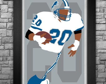 BARRY SANDERS minimalism style limited edition art print. Choose from 3 sizes!