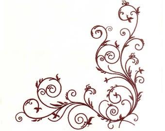 Maroon Vines and Leaf Border Machine Embroidery Design