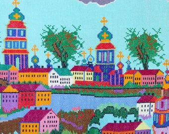 UNIQUE Vintage Large Embroidery Kyiv Museum Quality Fantastic Hige Picture Excellent Condition Needlepoint Cross Stitch Old Gobelin Tapestry