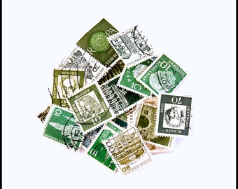 Assorted Used Cancelled German Postage Stamps - Vintage Green Postage Stamps