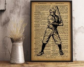 Baseball Player poster, Sports Baseball Print Vintage Baseball Player, Sports collage man cave decor, Baseball Player gift Wall ArtV15