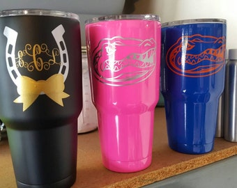 Powder coated and laser engraved Tumblers YETI, RTIC, and Ozark Trail
