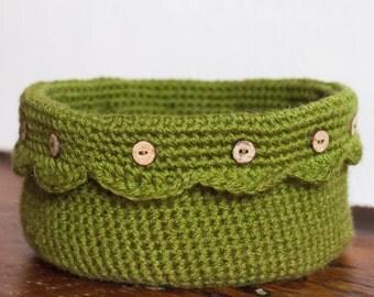 Olive Green Crochet Pot, Crochet Basket, Storage Basket, Trinket Bowl, Yarn Basket, Desk Tidy, Trinket Dish, Sewing Basket, Bathroom Basket