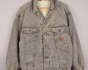 vintage sherpa jacket, light blue sherpa, vintage denim jacket, shearling jacket