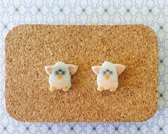 Furbie handmade hypoallergenic stud earrings 90's kid free shipping girl gift