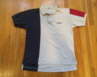 Vintage Nautica Competition polo shirt size L colorblock color blocking off white red navy