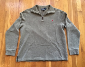 Vintage Polo by Ralph Lauren 1/4 zip size M olive drab red polo player quarter zip
