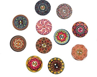 10 vintage style wooden round buttons
