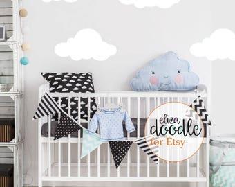 Large cloud wall stickers white / decal black / cloud home decor / children's cloud wall art / Pink Blue Grey Black White Vinyl Sticker