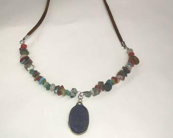 Bohemian Beaded Gemstone Necklace with lapis pendant