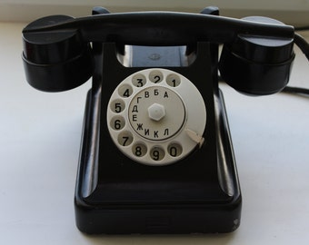 Soviet phone. Soviet telephone. Vintage phone. Vintage telephone. Rotary Dial Phone. Black rotary phone