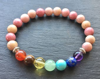 Rhodonite Chakra Balancing Bracelet Grade-A Natural Semi-precious Gemstone Beads on Stretch Cord