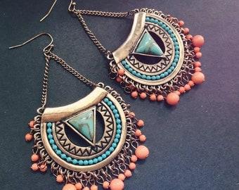 Boho Jewelry, Boho Earring, Bohemian Earring, Bohemian Jewelry, Hoop Earring, Hindu Jewelry, Hindu Earring,Tibetan Earring,Turquoise EarrinG