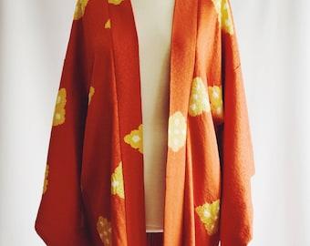 Vintage Japanese Kimono silk orange yellow patterned