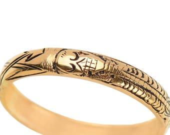 Skeleton Ring Memento Mori Ring Gold Estate Enamel Engraved Full Skeleton Georgian-Inspired Pickaxe and Shovel 18k Gold || 17838