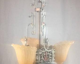 Three Light Art Deco Slip Shade Chandelier