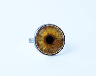 Human eye ring Eye jewellery Girlfriend gift Human eye jewelry Eye ring Eyeball jewelry Hazel eye Eyeball ring Women ring Eyes jewelry Brown