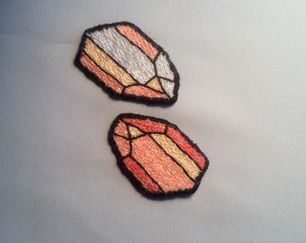 Mineral Patch Model 1 - Hand Embroidered Pastel Glitter Crystal Patch - Small