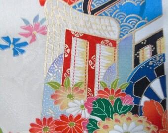 Japanese Silk KIMONO Fabric -  SILK Princess Carriage (sample)