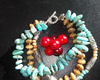 """Turquoise Bracelet/6"""" Bracelet/ Three Strings Bracelet/Multi Stones Bracelet/Handmade Bracelet/Gift For Her/ Item Nr.188"""