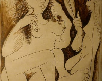 PABLO PICASSO Two girls Original Antique Drawing Signed