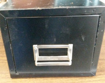 "Vintage ""SteelMaster"" Index Card Drawer, Single file drawer in black, only one available, Appears to be for 4x6 cards"