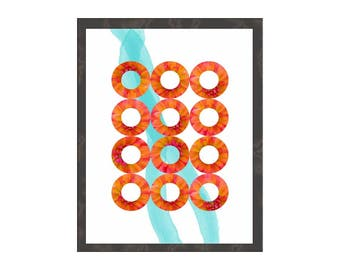 Geometric Art Print in Orange Aqua Circles, Modern Minimalist Wall Art, Abstract Contemporary Interior Decor, Poster Canvas Wood Panel Donut