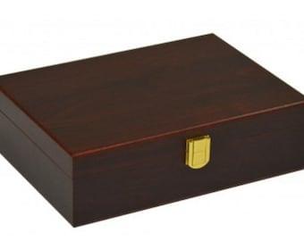 Plain Double 9 Matte Finish Wooden Case