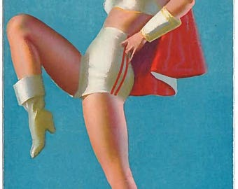 Original Mutoscope Pin-up Card  Out in Front by Earl Moran  1940s