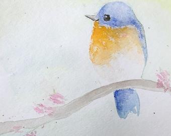 Eastern Bluebird, 4x4 print, watercolor, fine art prints, watercolor birds, wall art, Mother's Day, bird art