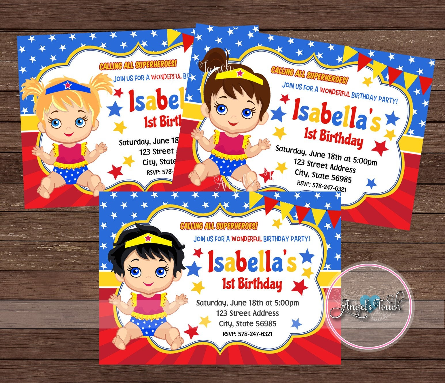 Wonder Woman Party Invitation Wonder Woman Baby Invitation Baby