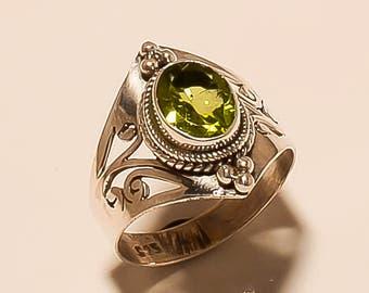 925 Solid Sterling Silver Ring Natural Peridot Ring Faceted Ring Sterling Silver Ring Peridot Gemstone Ring Peridot Stone Ring Size 8 E-466