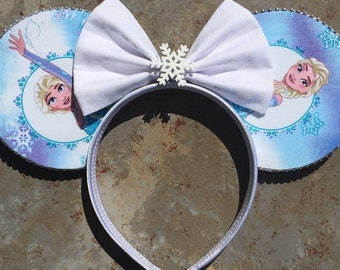 Elsa Minnie ears!  Frozen Mickey ears headband!