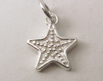 Genuine SOLID 925 STERLING SILVER Star charm/pendant