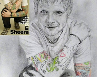 Ed Sheeran, Rock star, drawing, graphite, colour pencil, celebrity, art, commissions, illustrations, people, portraits, size A4.