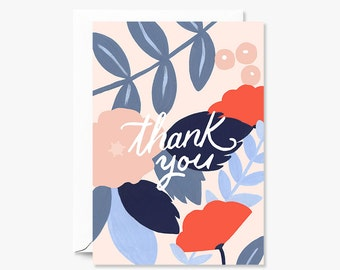 Thank You Greeting Card Illustrated and Whimsical Design
