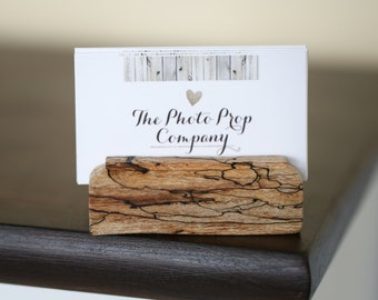 Business Card Holder - Handmade from solid wood Spalted Maple Natural Stain Business Card Display Handmade Office Christmas Gift, Solid wood