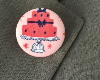 Cupcake, brooch, button, vintage brooch, birthday present, birthday gift, mother's day gift, birthday, pink
